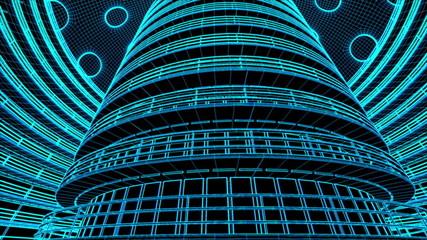 Ultra Modern Data Center Wireframe Design 3D Animation