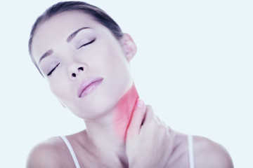 Neck pain woman need back massage