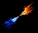 Flying burning bullet