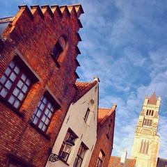 Bruges tipycal houses façades. Belgium.