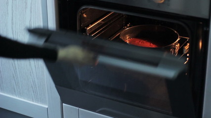 woman puts the cake in the oven