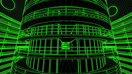 Ultra Modern Data Center Wireframe Design 3D Animation