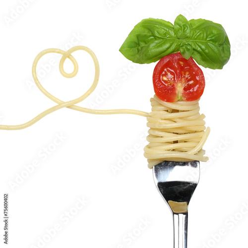 Leinwanddruck Bild Spaghetti Gericht mit Herz auf einer Gabel Thema Liebe