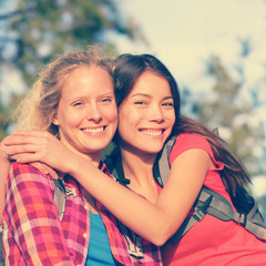 Girlfriends - Girls young women hiking portrait