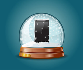 Cell phone in snow globe.