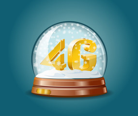 4G mobile communications standard in snow globe.