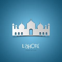 Lahore, Pakistan. Blue greeting card.