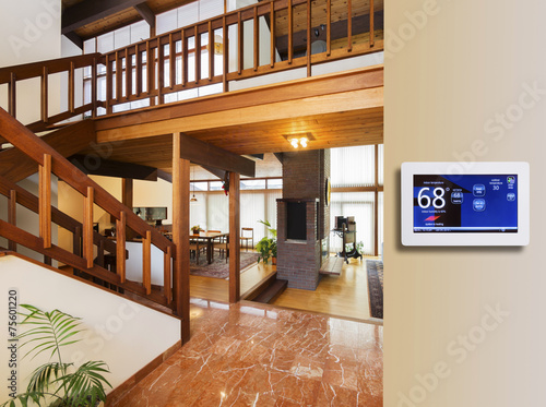 Leinwanddruck Bild Programmable thermostat for temperature control in entranceway