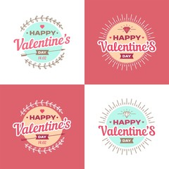 Valentines day illustrations and typography elements.