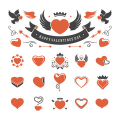 Valentines Day or Wedding Vintage Objects Vector and symbols Set