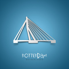 Rotterdam, Netherlands. Blue greeting card.