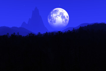 Prehistoric Jurassic Jungle at Night under Fullmoon 3D artwork