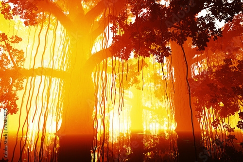Mysterious Deep Jungle in the Sunset Sunrise 3D artwork