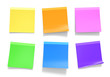 Office sticky notes in yellow, orange, pink, green, blue, purple