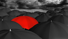 "Постер, картина, фотообои ""Individuality and different concept of a red umbrella in a crowd"""