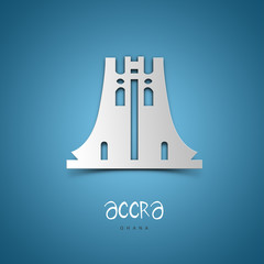 Accra, Ghana. Blue greeting card.
