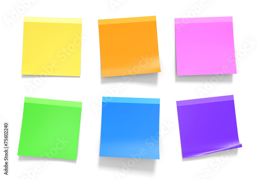 Office sticky notes in yellow, orange, pink, green, blue, purple - 75602240
