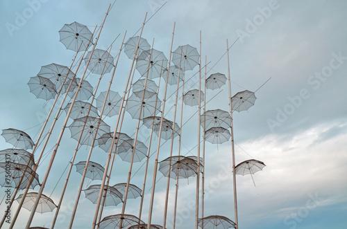 Leinwanddruck Bild thessaloniki umbrellas