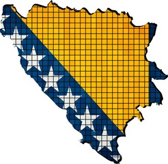 Bosnia and Herzegovina map with flag inside