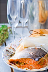 the baked salmon in parchment