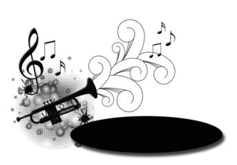Música, trompeta, fondo blanco, notas musicales