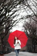 壁紙(ウォールミューラル) - Umbrella woman walking in Central Park in winter