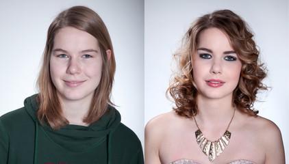 Frau ungeschminkt und geschminkt direkt Vergleich