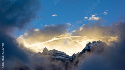 canvas print picture Sonnenaufgang im Hochgebirge