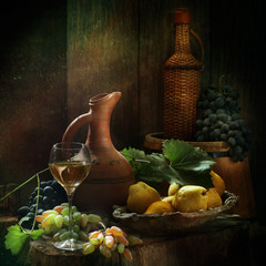 Still-life with wine, pears and grapes