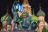 Fototapeta Monument to Minin and Pozharsky on Red Square, Moscow, Russia