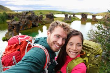 Selfie - travel couple on lake Myvatn Iceland