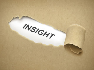the word insight behind torn paper