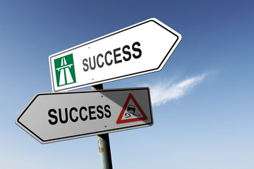 Success directions. Choice for easy way or hard way.