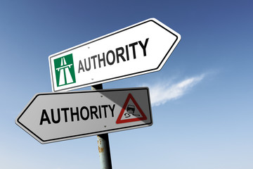 Authority directions. Choice for easy way or hard way.