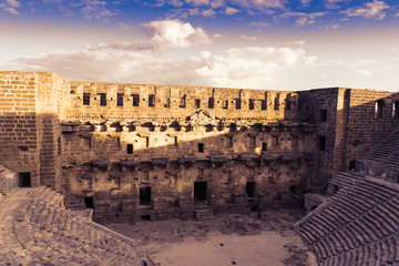 Magnificent Aspendos theater at sunset, Turkey