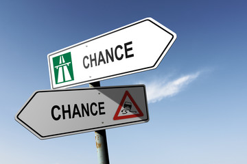 Chance directions. Choice for easy way or hard way.
