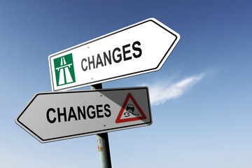 Changes directions. Choice for easy way or hard way.