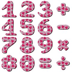 scrapbook numbers on white background
