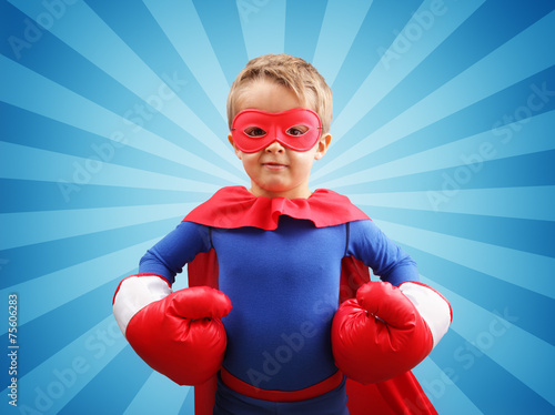 Superhero child with boxing gloves - 75606283