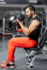 Man doing biceps workout in a gym