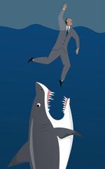 Shark attacks a drowning businessman