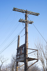 Old wooden telegraph pole