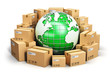 Leinwanddruck Bild - Worldwide shipping and ecology concept