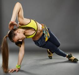 Street dancer doing moves