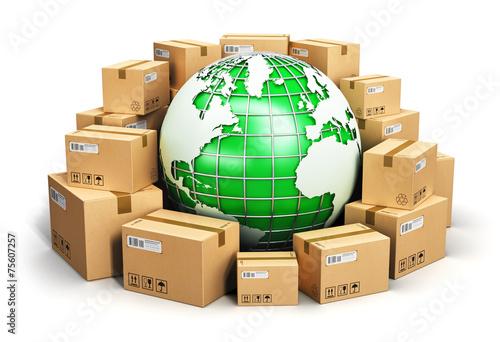 Leinwanddruck Bild Worldwide shipping and ecology concept