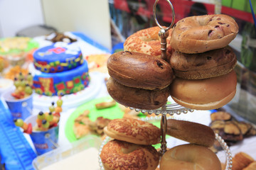 Bagle in a birthday party for breakfast