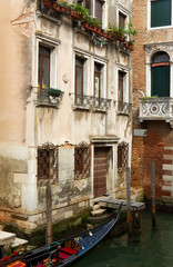 Gondola parked in Venice backyard.