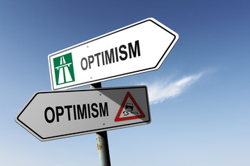 Optimism directions. Choice for easy way or hard way.
