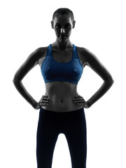 woman exercising fitness portrait silhouette