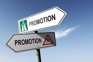 Promotion directions. Choice for easy way or hard way.